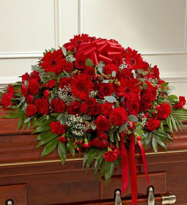 Red Mixed Casket Spray