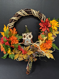 12 inch Swinging Owl Wreath