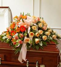 Peach, Orange, and White Casket Cover