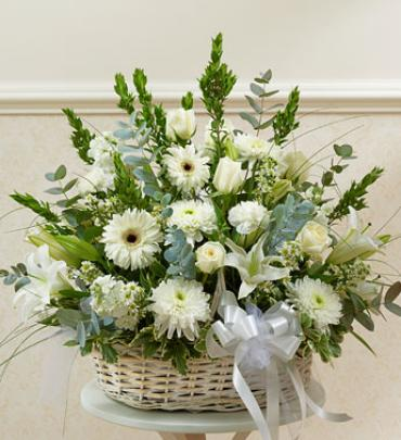 White Sympathy Arrangement in Basket