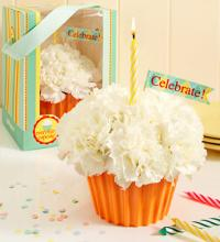 Cupcake in Bloom with 2 Happy Birthday Balloons