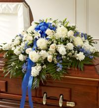 Blue & White Cherished  Rose Casket Spray