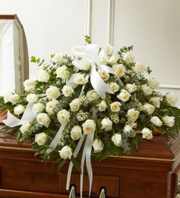 Cherished Memories White Rose Half Casket Spray