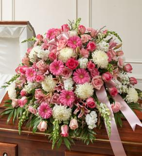 Pink and White Mixed Casket Spray