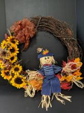 24 inch Happy Scarecrow Wreath