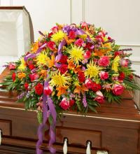 Bright Mixed Flower Casket Cover
