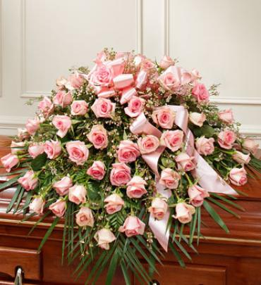 Cherished Memories Rose Half Casket Spray - Pink
