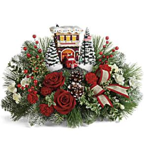 Thomas Kinkade\'s Festive Fire Station Bouquet