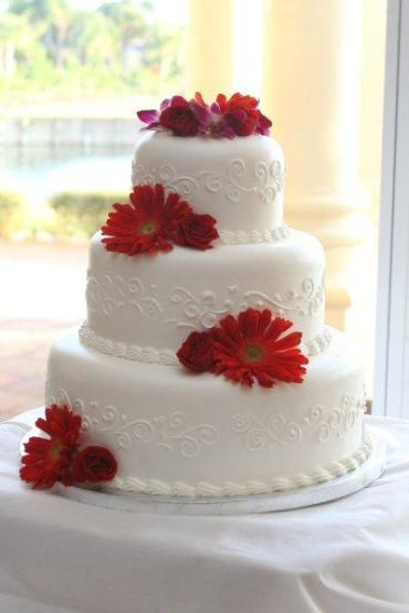 Red Rose and Gerbera Decorated Cake