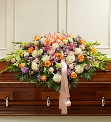 Pastel Mixed Flower Full Casket Spray