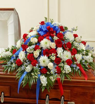 Red, White & Blue Cherished Rose Half Casket Spray