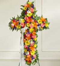 Multicolor Bright Mixed Flower Standing Cross