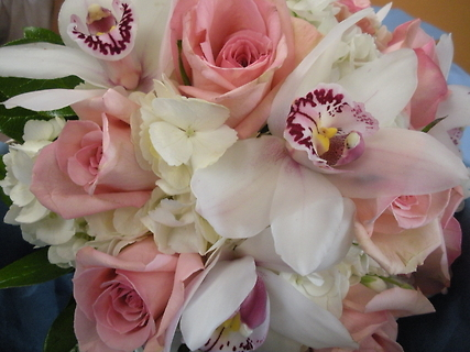 Hydrangea,  Rose and Cymbidium Orchid Bouquet.