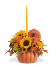Pumpkin Centerpiece with Candle