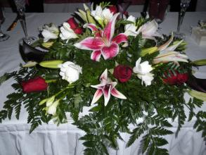 Lily, Rose and Freesia Head Table Piece